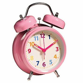 Despertador Twin Bell com luz multi cor número de peso leve rosa