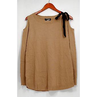 Attitudes Sweater Scoop Neck Cold Shoulder Camel Beige A298648
