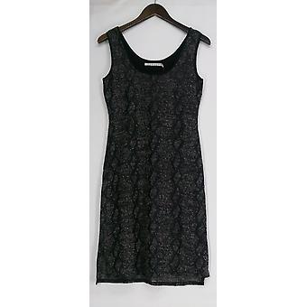 209 West 38 Dress Animal Print Knit Tank Style w/ Hi Low Hem Black Womens