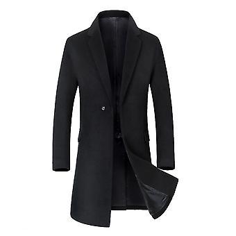 Allthemen mænd ' s uldne frakke Mid-lang solid efterår overfrakke