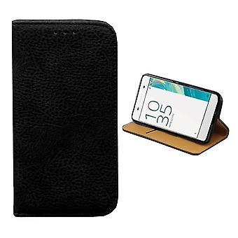 سوني Xperia X حقيبة جلدية الأسود - خزانة الكتب