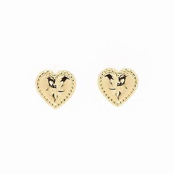 Boucles d'oreilles Eternity 9ct Gold Diamond Cut Heart Stud Perlées
