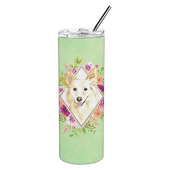 White Collie Green Flowers Double Walled Stainless Steel 20 oz Skinny Tumbler