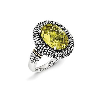 925 Sterling Silver With 14k Lemon Quartz Ring Jewelry Gifts for Women - Ring Size: 6 to 8