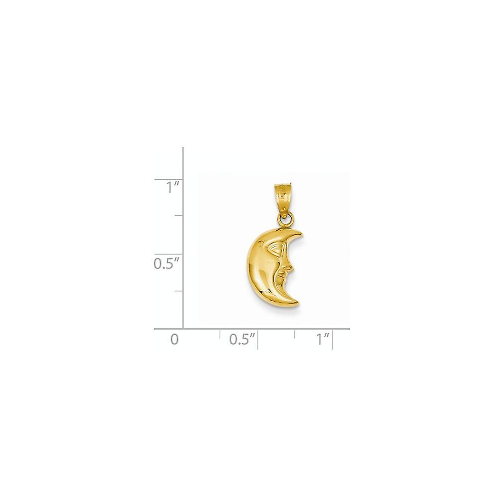 14 k Gelbgold hohl poliert 3 D himmlischen Mond Anhänger Halskette Maßnahmen 21 x 10mm Schmuck Geschenke für Frauen