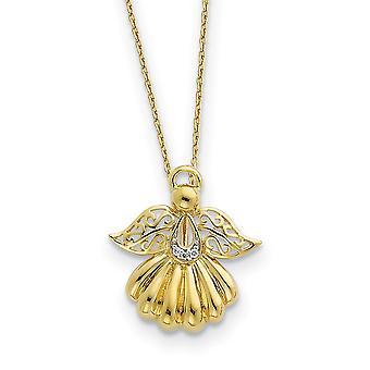 925 Sterling Silver Polished Spring Ring 14k Gold Band CZ Cubic Zirconia Simulado Diamante Religioso Guardião Anjo Ne