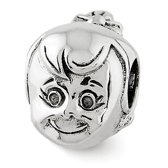 925 Sterling Silver Polished Antiquário Reflections Little Girls Head Bead Charm Pendant Necklace Jewely Gifts