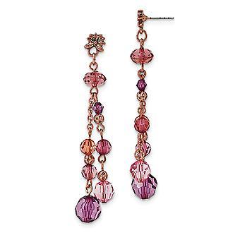Kirurginen teräs viesti Rose sävy vaaleanpunainen ja violetti akryyli helmet post pitkä pudota dangle korvakorut korut lahjat naisille