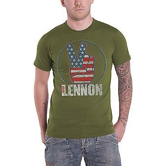 John Lennon T Shirt Peace Fingers US Flag Logo new Official Mens Green