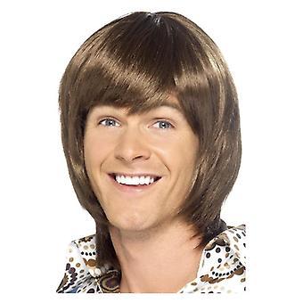 Miesten 70-luvun sydämentykytys peruukki ruskea naamiaispuku lisävaruste