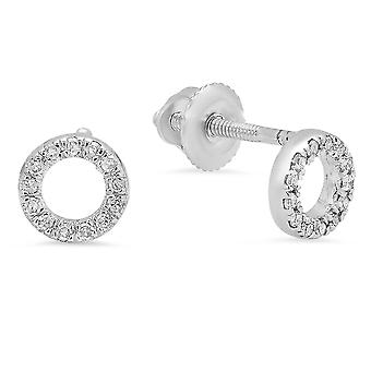 Dazzlingrock Collection 0,10 Carat (CTW) 10K rund skåret hvid diamant damer cirkelform stud øreringe 1/3 CT, hvid guld