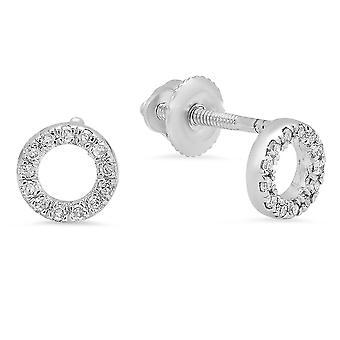 Dazzlingrock Collection 0.10 Carat (ctw) 10K Round Cut White Diamond Ladies Circle Shape Stud Earrings 1/3 CT, White Gold