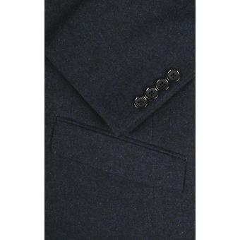 Dobell mens Navy Donegal Tweed jas slim fit inkeping revers