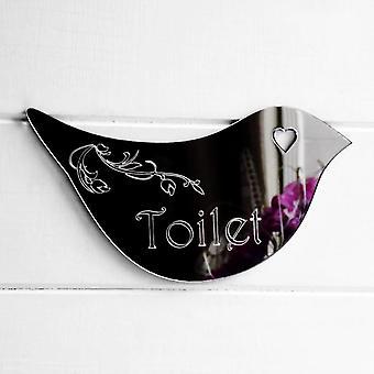 Floral Dove Acrylic Mirror Door or Wall Sign - TOILET