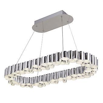 Searchlight Darcy Integrated LED Pendant Light Chrome avec Sables de Cristal 4431CC