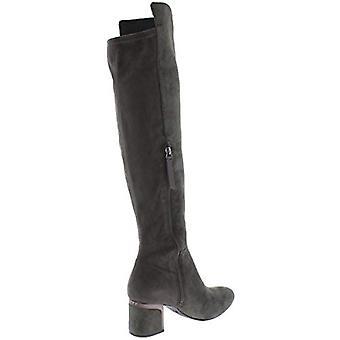 DKNY Womens Cora lederen blokhak over de knie laarzen grijs 7 medium (B, M)
