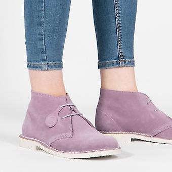 Popps Pastel Ladies Suede Casual Desert Boots Soft Orchid