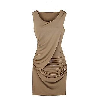 Vincenza ladies bodycon pleated sleeveless mini shirred dress