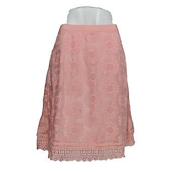 Isaac Mizrahi en direct! Jupe Floral Mesh Lace Border Pink A305236