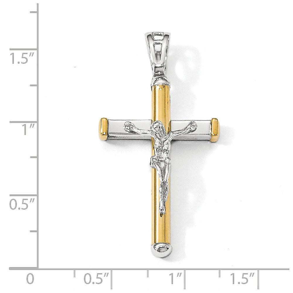 14k Two tone Polished Crucifix Pendant Necklace Jewelry Gifts for Women - 3.8 Grams