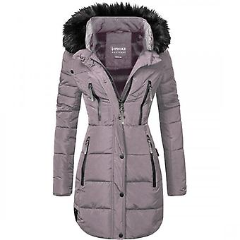 Spindle Womens Designer Faux Fur Hooded Long Jacket Quilted Winter Puffer Padded Coat Zip Pockets