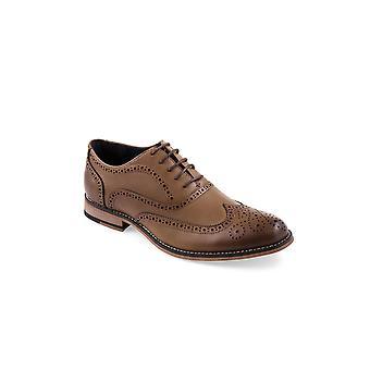Cavani Oxford Tan Brogue Leather Look Shoe
