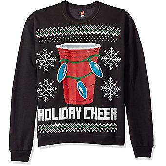 Hanes Men's Ugly Christmas Sweatshirt,Ebony, Ebony Holiday Cheer, Size XX-Large