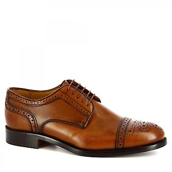 Leonardo Shoes Men-apos;s main classe brogues chaussures oxford en cuir de veau tan