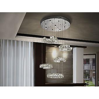 Schuller Cala - lampe LED en métal, en acier inoxydable et en cristal à facettes. Éclairé par 5 lumières spot et 5 réglables en pendentifs de hauteur. - 679526