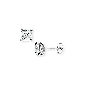Jewelco London Ladies 9ct White Gold 4 Claw Cubic Zirconia Square Stud Earrings 5mm