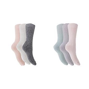 Womens/Ladies Wool Blend Boot Socks (3 Pairs)