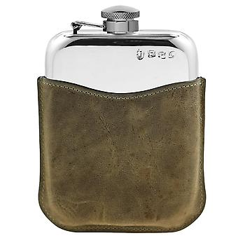 Plain Polished Pewter Purse Flask With Captive Top In Stone Leather Pouch - 6oz