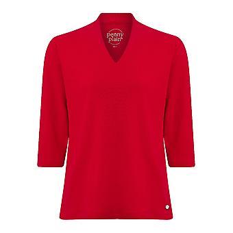 PENNY PLAIN Red High Back V-Neck Top