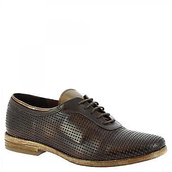 ليوناردو أحذية النساء & أبوس؛ق الدانتيل المصنوعة يدويا- المنبثقة الأحذية البني الداكن العجل المفتوح الجلد