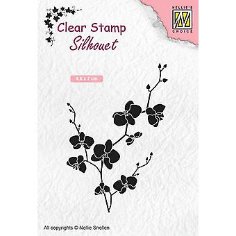 Nellie's Choice Clearstamp - Silhouette branch with flowers SIL053 48x70mm