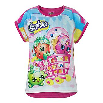 Shopkins Characters All Over Multicoloured Girl's T-Shirt