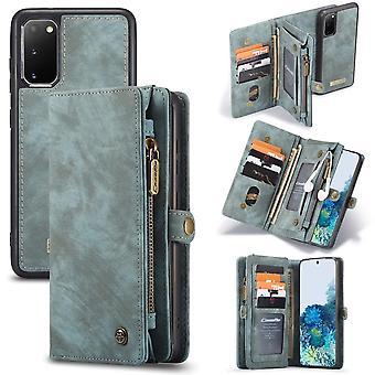 CASEME Samsung Galaxy S20 Retro Lederen Portemonnee Case - Blauw