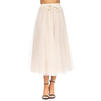 Tul Midi nederdel med bue