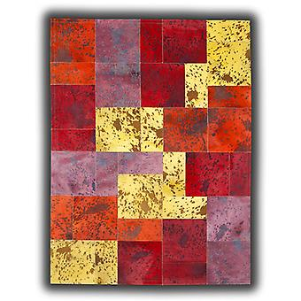 Rugs -Patchwork Leather Cubed Cowhide - Acid Colours AC2