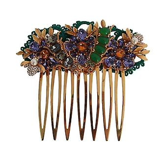 Dolce & Gabbana Gold Crystal Floral Fly Hair Comb -- SMY1099312