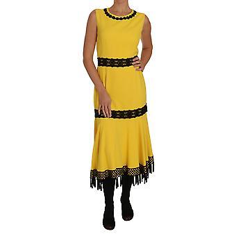 Dolce & Gabbana Keltainen Mekko Kukka Pitsi Hapsut Ti-mekko