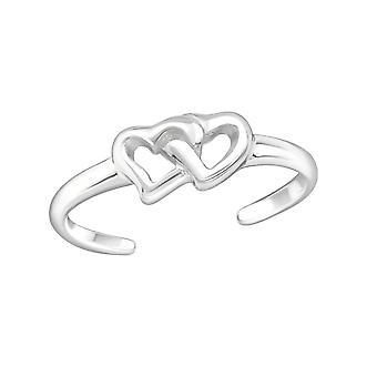 Kaksinkertainen sydän - 925 Sterling hopea varvas renkaat - W21054x