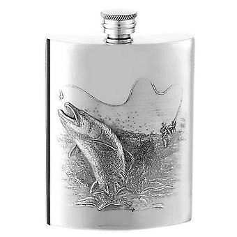 Orton West 6oz pesce vite Top Hip Flask - argento