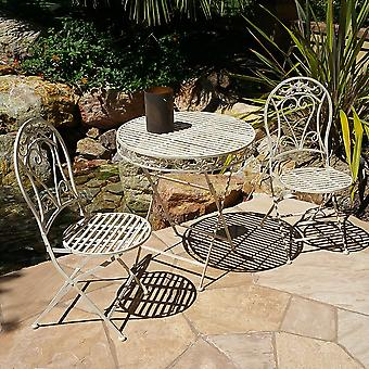 Modern Home Versailles Antiqued Iron 3pc Folding Bistro Set - Outdoor Conversation Set