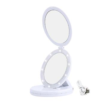 Miroir de maquillage pliable �� double support LED Makeup Mirror