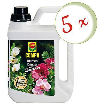 Sparset: 5 × الأسمدة زهرة COMPO مع جوانو، 2.5 لتر