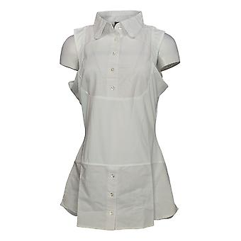 Kathleen Kirkwood Women's Top Sleeveless Blouse w/ Collar White A311148