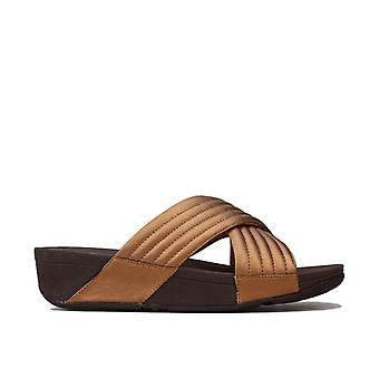 Women's Fit Flop Lulu Padded Cross Slide Sandals in Brown