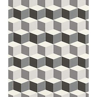 Uptown zwart wit 3D plakken muur vinyl vierkante geometrische vorm moderne wallpaper