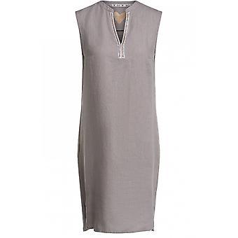 Oui Licht Khaki Linnen jurk